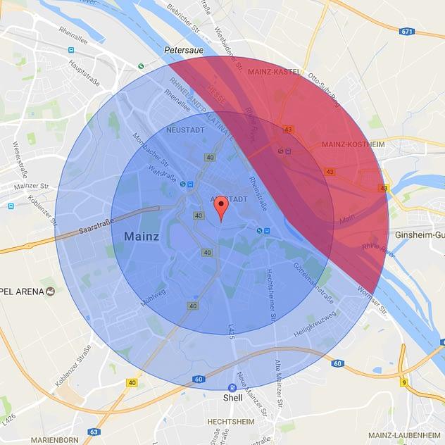 Voraussichtliche Liefergebiete – mit 2km und 3km Radius