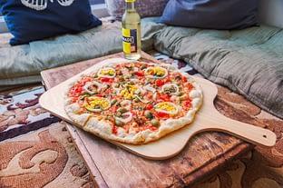 Vegane Pizza im Dhyān